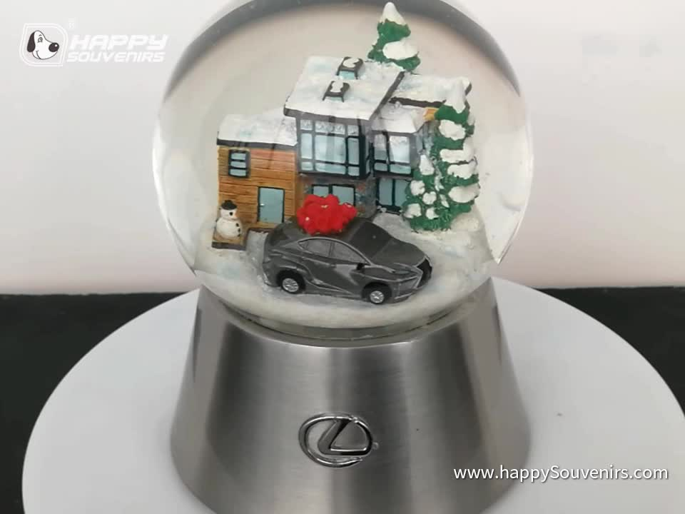 Metal Base Blowing Snow Electronic Music Christmas Battery Snow Globe Luxury Brand Car Promotion Gift 100mm Snowball Water Globe