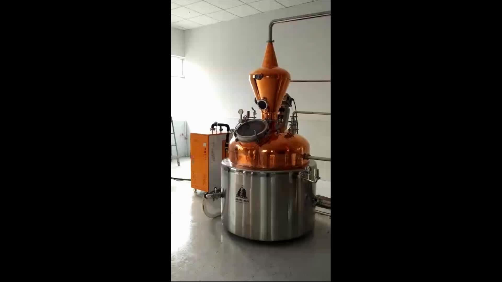 [JiangMan]-शराब प्रसंस्करण उपकरण 500L हाइब्रिड अभी भी 8 ''तांबे की प्लेट ग्लास भाटा आसवन स्तंभ वोदका/ जिन शराब खींचनेवाला