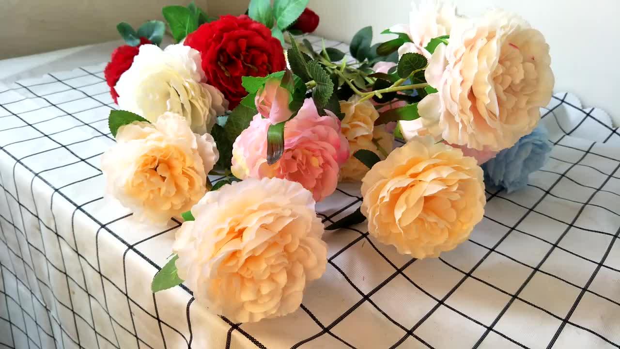 ขายส่งผ้าไหมดอกไม้ตกแต่ง 3 หัวประดิษฐ์เดี่ยว Peony