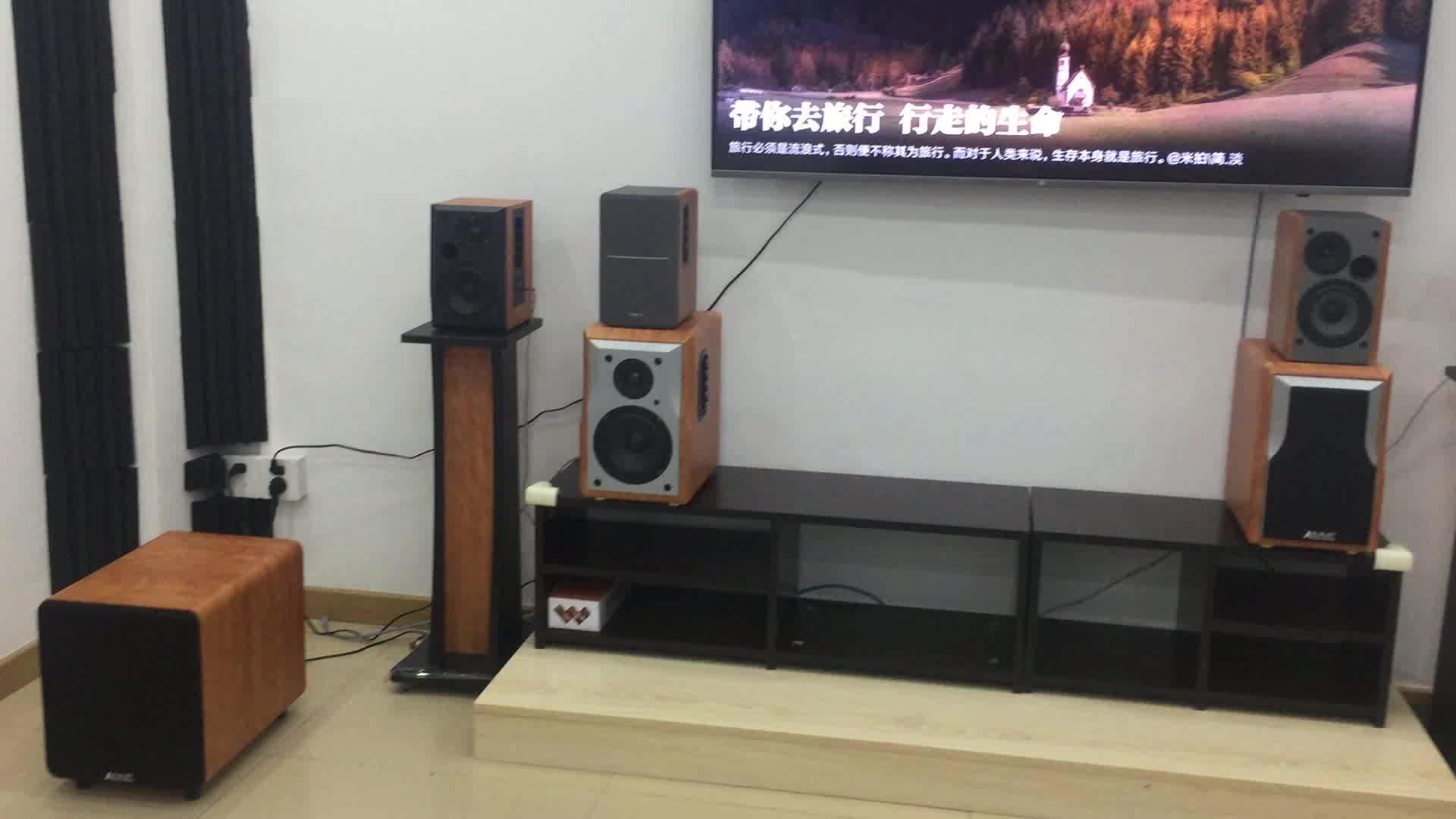 2019 Baru Kayu Super Bass DVD USB SD MMC Kartu Nirkabel 2ch Stereo Suara 50W RMS Hi-fi Gigi Biru rak Buku HI FI Speaker