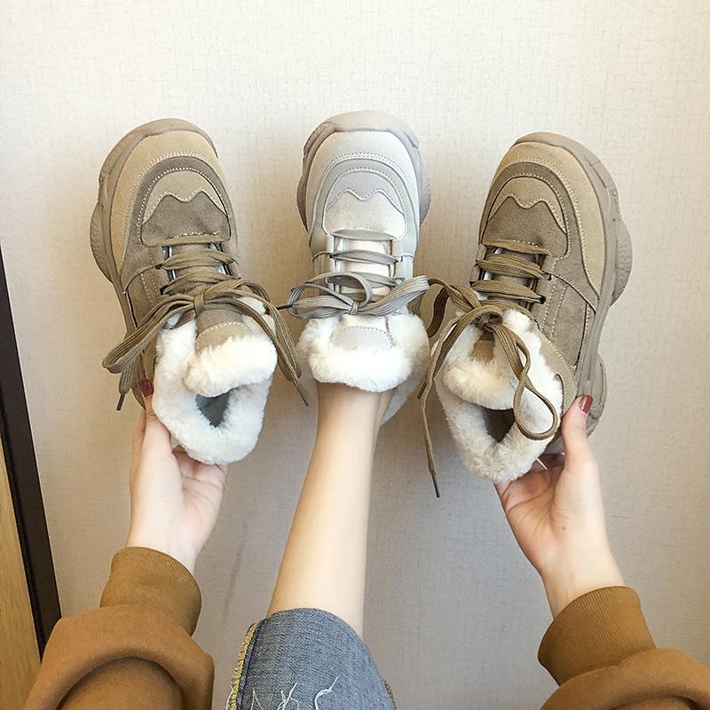 Старый отец обувной женщина ins волна 2019 новый зимний осенний дикий толстая корка плюс бархат chic спортивной обуви сын тепло зимой обувь женская 607510948723
