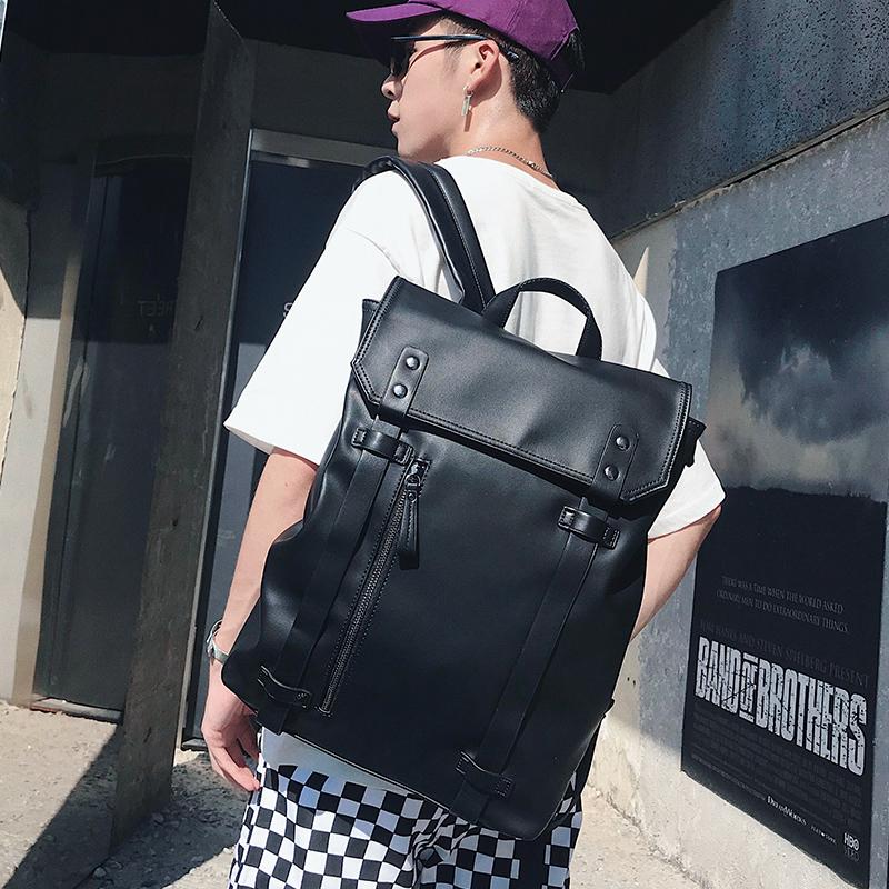 背包新款青年男包皮质简单背包纯色双肩包v背包户外书包旅行包潮流