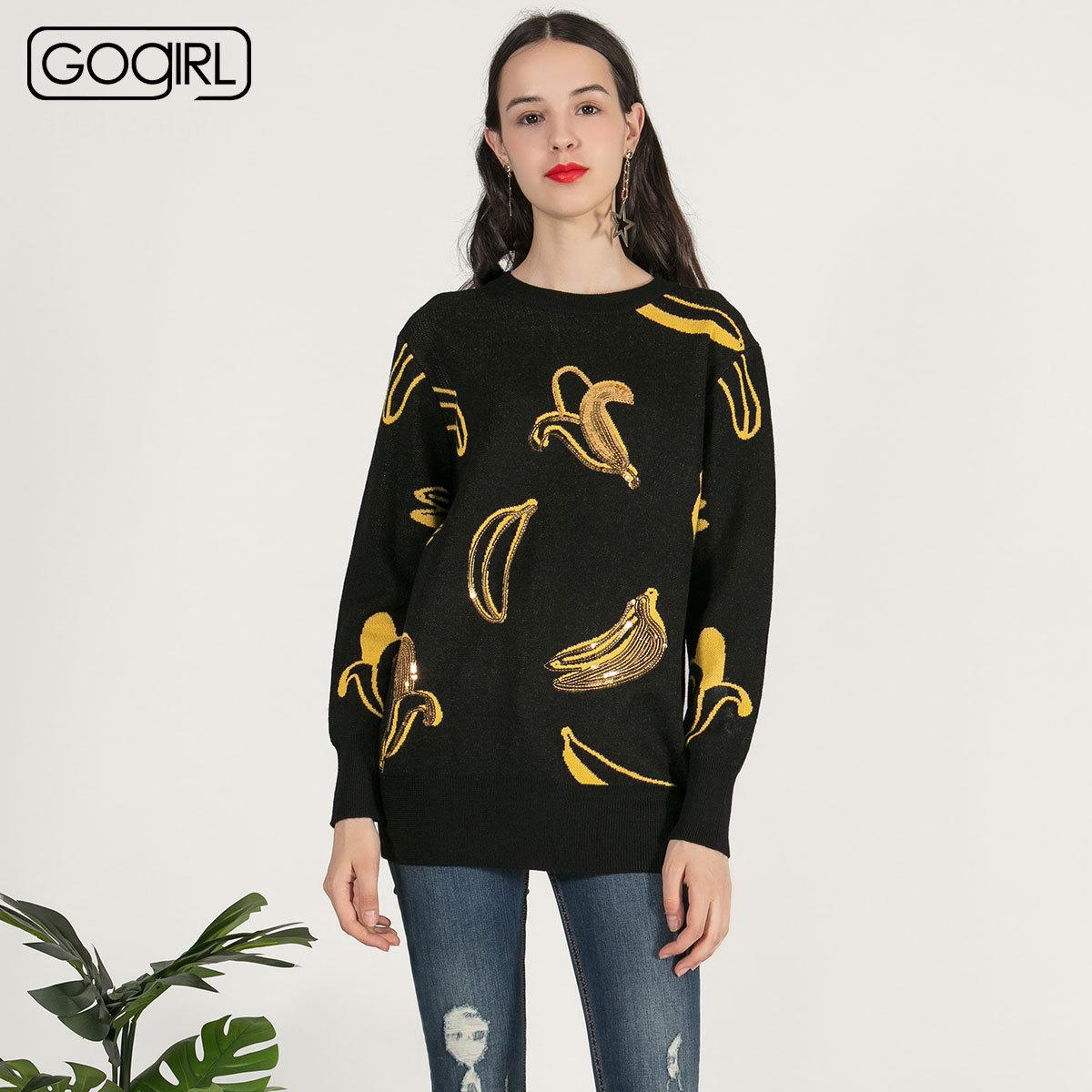 GOGIRL绣花圆领新款专柜亮片高歌套头毛衣针织衫时尚女GUGU44KK5555