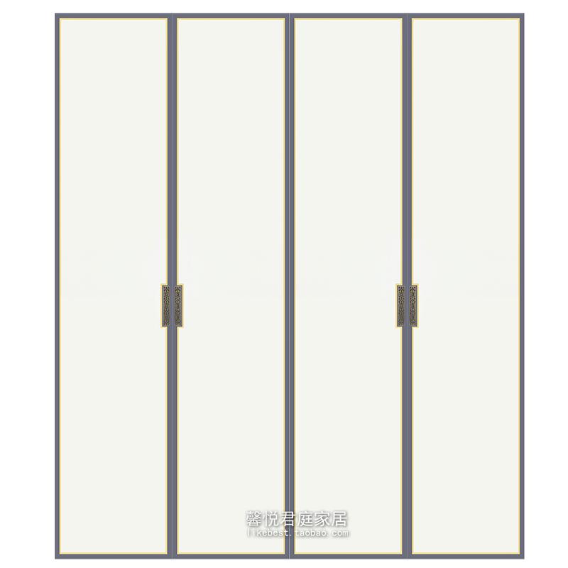 定制做模压新中式大橱衣柜平对开门板套色深灰轻奢镶金边肤感皮K
