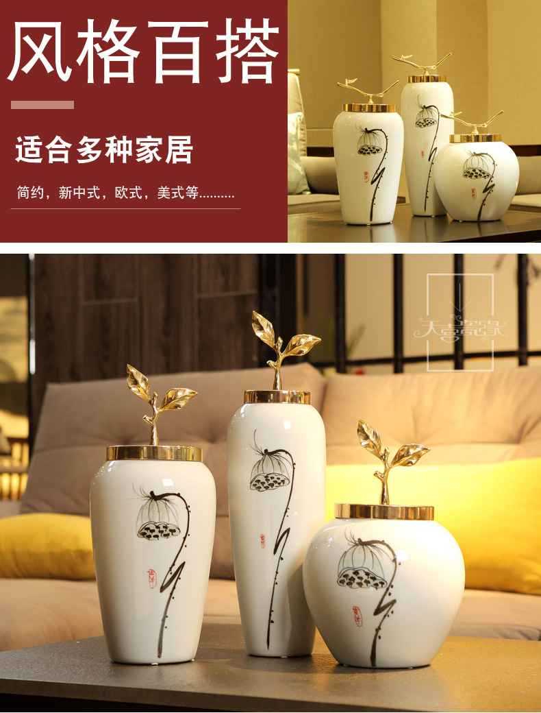 I and contracted creative ceramic vase furnishing articles living room TV cabinet table flower arranging small pure and fresh and home decoration