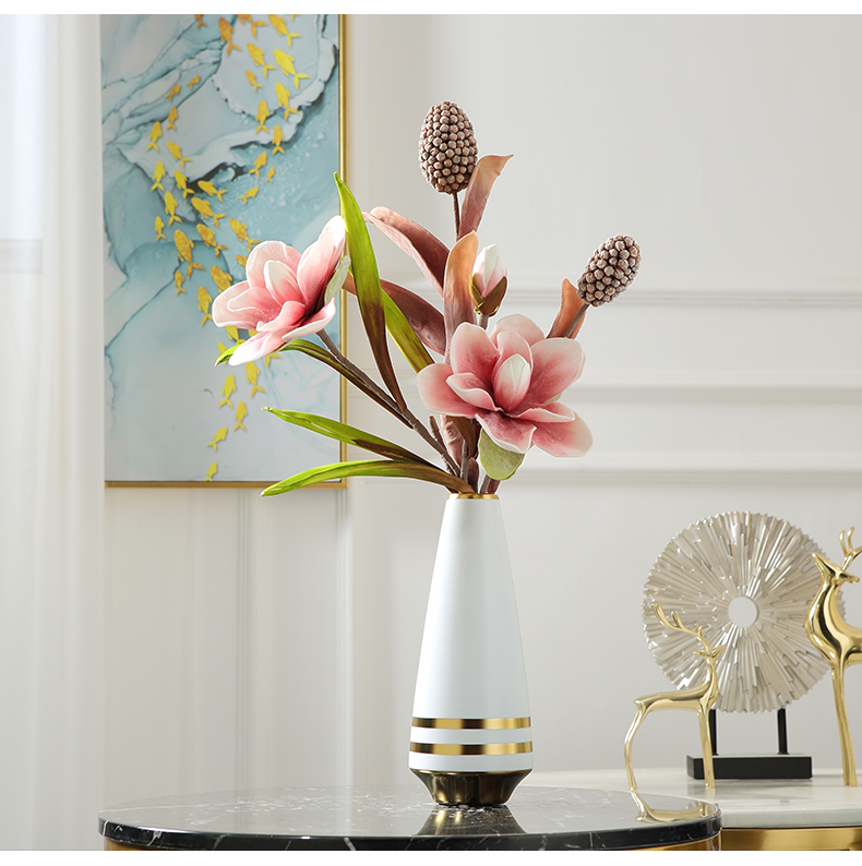 Nordic light key-2 luxury ceramic vases, creative living room TV cabinet dry flower arranging flowers, wine cabinet table household soft adornment