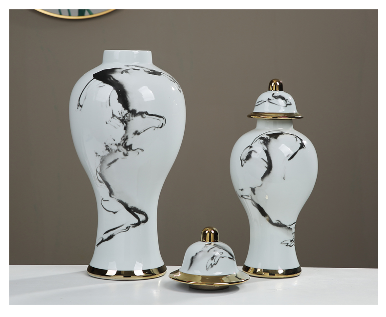 Jingdezhen general ink tank ceramic vase furnishing articles large Chinese style living room between example home decoration decoration