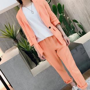 棉麻小西裝女亞麻套裝很仙2019夏季新款韓版西服外套長褲兩件套