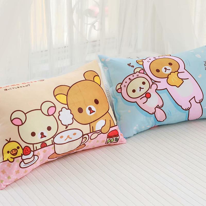 Nhật Bản dễ thương gấu hồng gấu in vỏ gối ký túc xá sinh viên gối đơn không có lõi gối - Gối trường hợp