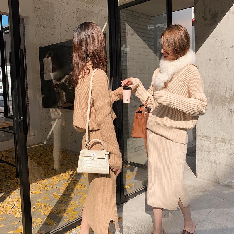 PINZIKO半身时尚女毛衫春秋新款针织套装毛衣裙两件套T284