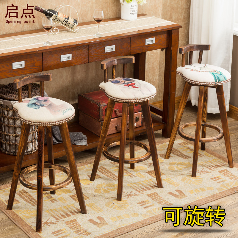 Astonishing American Style Retro Carbonated Bar Chair Modern Simple Rotating High Stool Bar Stool Solid Wood Bar Chair Household Chair Machost Co Dining Chair Design Ideas Machostcouk