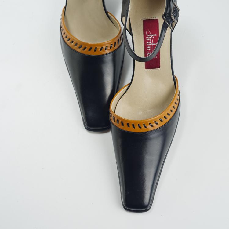 古着vintage单鞋名媛优雅复古百搭旧时光女鞋方头宽跟系带低跟