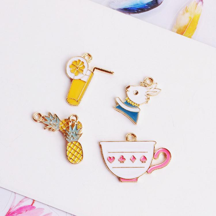 Корея ручной работы модель diy аксессуары монтаж капельный сплав кулон браслет аксессуары для волос подвески ананас кролик чаша лимонад