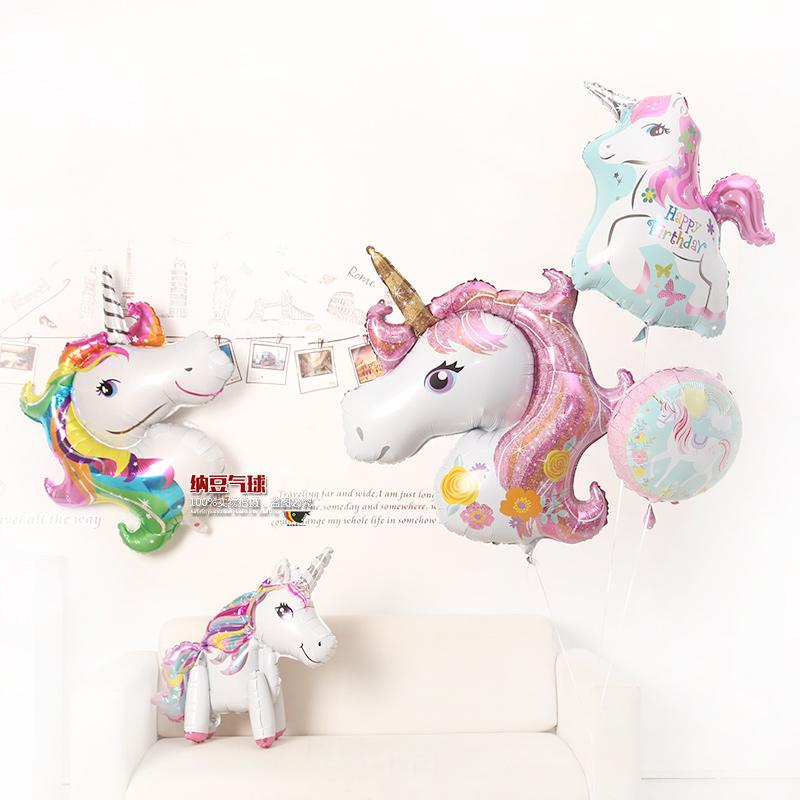 造型布置装饰气球定制独角兽卡通造型铝膜生日飞马气球气球派对
