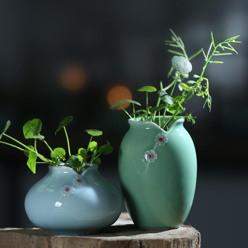 家居青花瓷绿萝陶瓷花瓶迷你小清新干摆件水培客厅v陶瓷龙泉装饰品