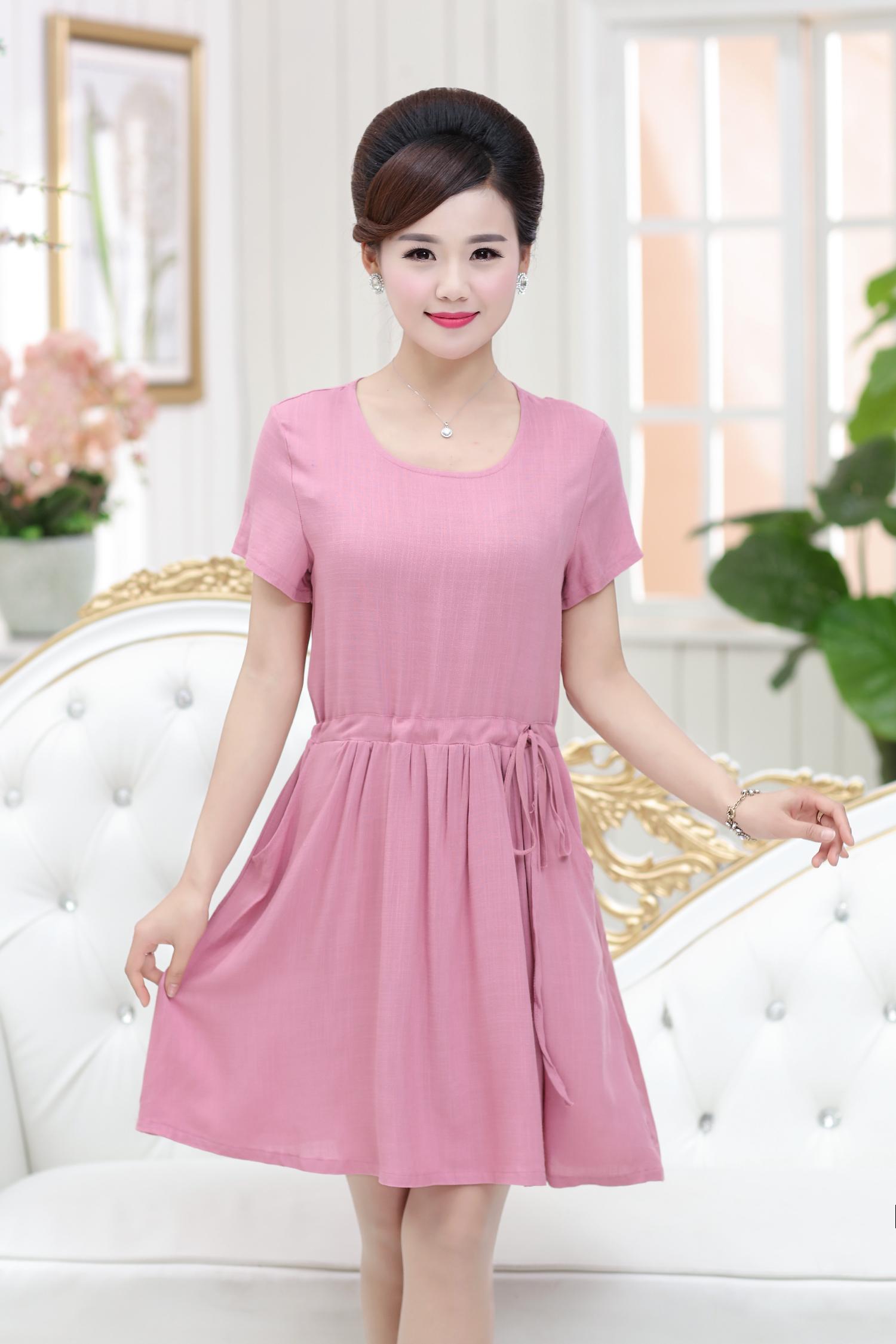夏季40-60中老年女大码妈妈裙雪纺棉纯色带口袋中长款韩版连衣裙