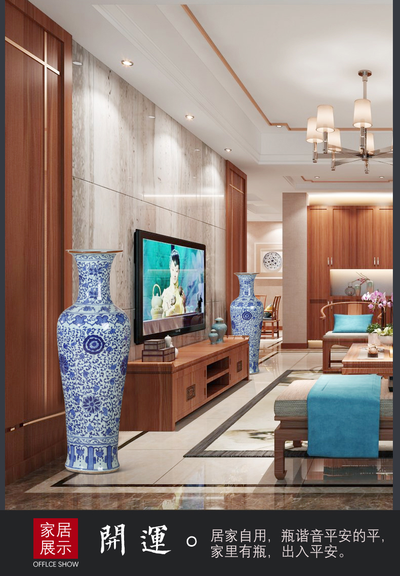 Jingdezhen ceramics antique hand - made ground of blue and white porcelain vase Chinese style living room TV ark hotel furnishing articles