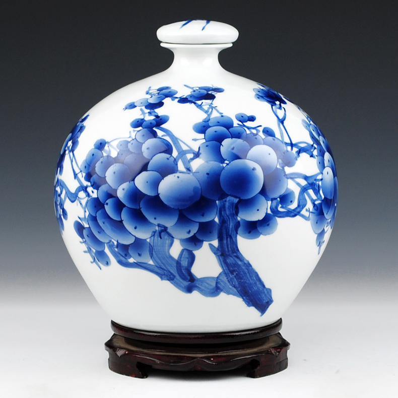 Jingdezhen ceramics famous household hand - made porcelain bottle wine jar with cover 10 jins to jars sealed as cans