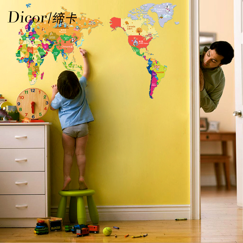 USD 21.79] World-inspired children room card through the world map ...