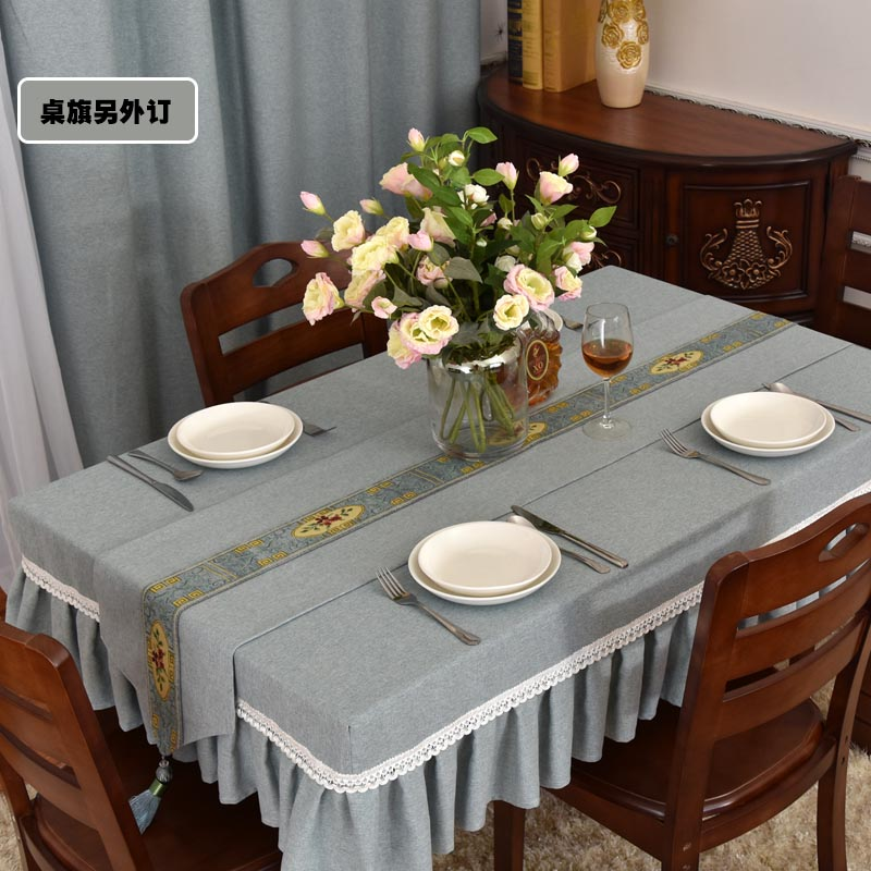 Simple Modern Tablecloth Cloth Coffee Table Cover Rectangular Living Room Dining Home Oval Solid Color