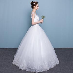 婚纱礼服韩式双肩V领显瘦公主大码齐地新款女拖尾新娘结婚夏
