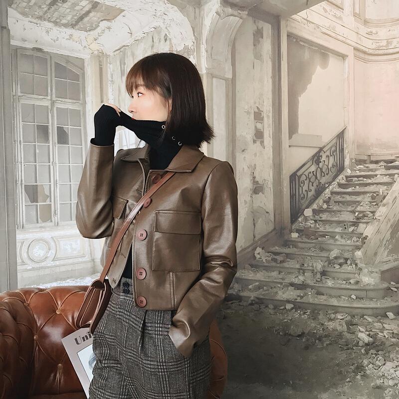 外套女皮衣2018秋冬季新款韩版小皮夹克显瘦机车高腰修身pu短款服