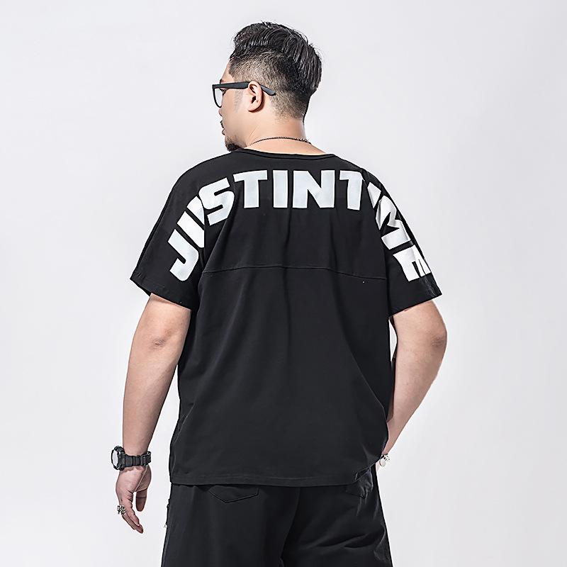 蝙蝠胖子加肥加大短袖T恤潮男士袖上衣大码300斤肥佬后肩JUST宽