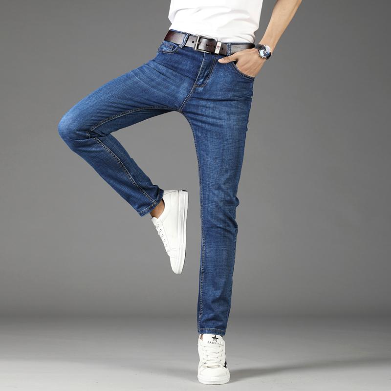 8833春夏新款v长裤牛仔裤男长裤男士修身直筒弹力