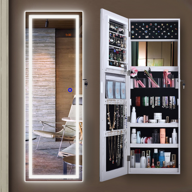 Dressing Mirror Female Home Wardrobe Wall Mounted Mirror Floor Storage Cabinet Bedroom Simple Modern Fitting Mirror Full Body Mirror