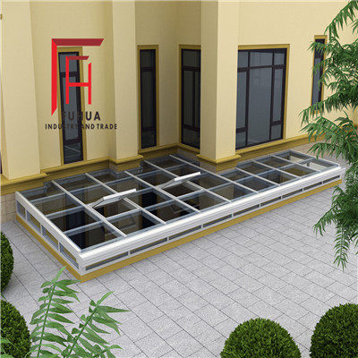 Fuhua aluminum alloy underground sun room patio glass room stair top basement glass top flower room customization