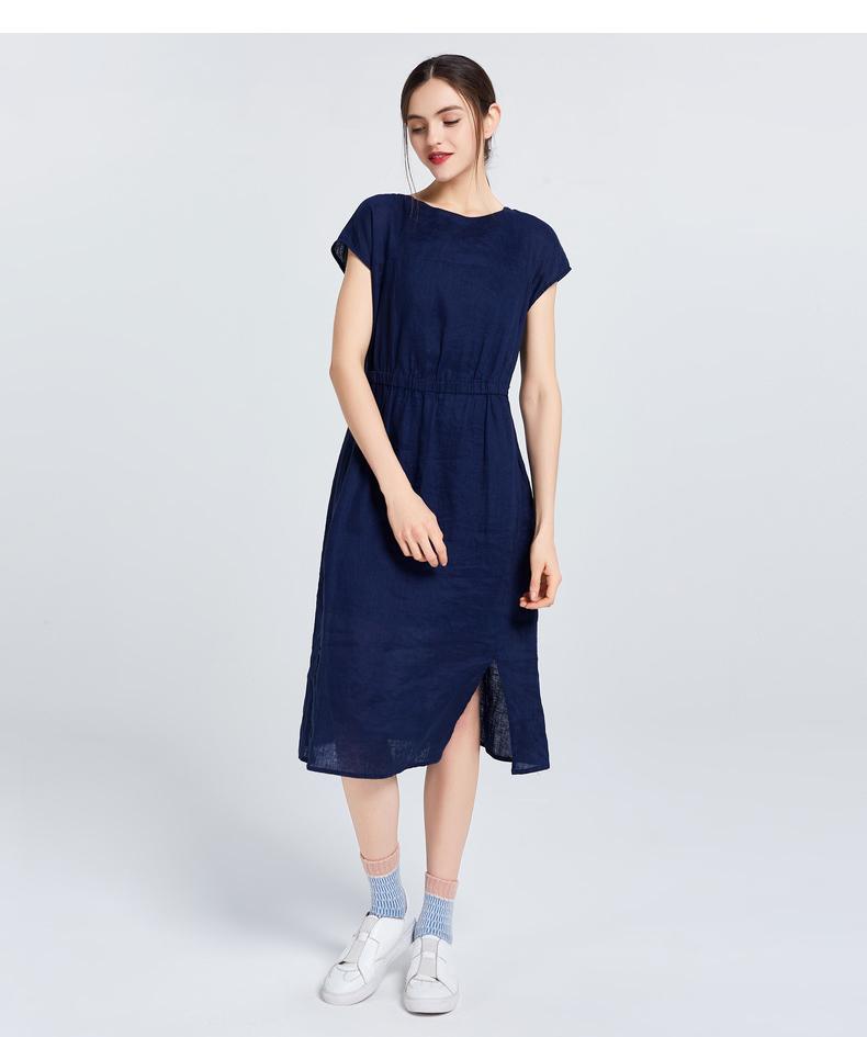 Gumu Xiyang GMXY mùa hè mới ngắn tay eo linen dresses của phụ nữ đô thị giải trí fan art