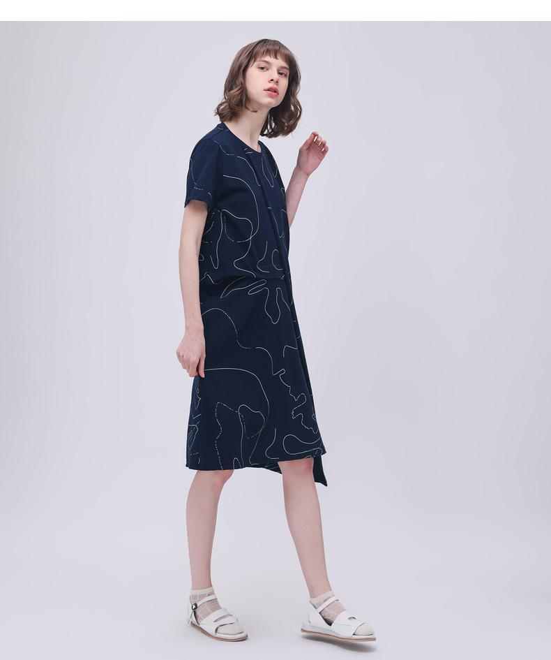 Gỗ cổ cừu cừu GMXY2018 phụ nữ mùa hè mới in tuyến tính nghệ thuật đan đầm mới vòng cổ váy