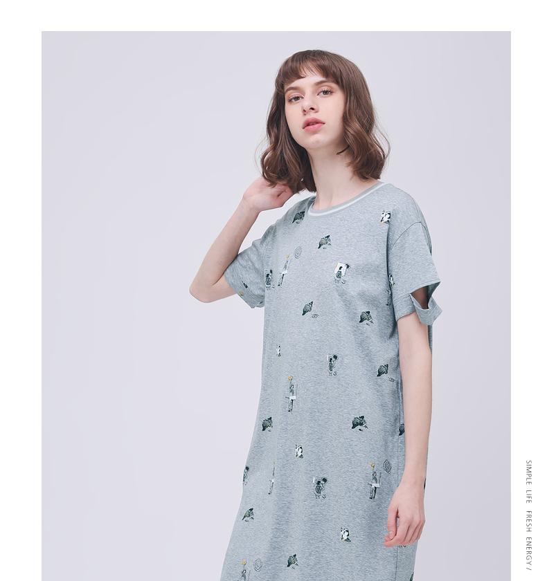Gỗ cổ buổi tối cừu GMXY2018 mùa hè của phụ nữ in mới trong chiếc váy dài cotton vui vẻ vòng cổ váy