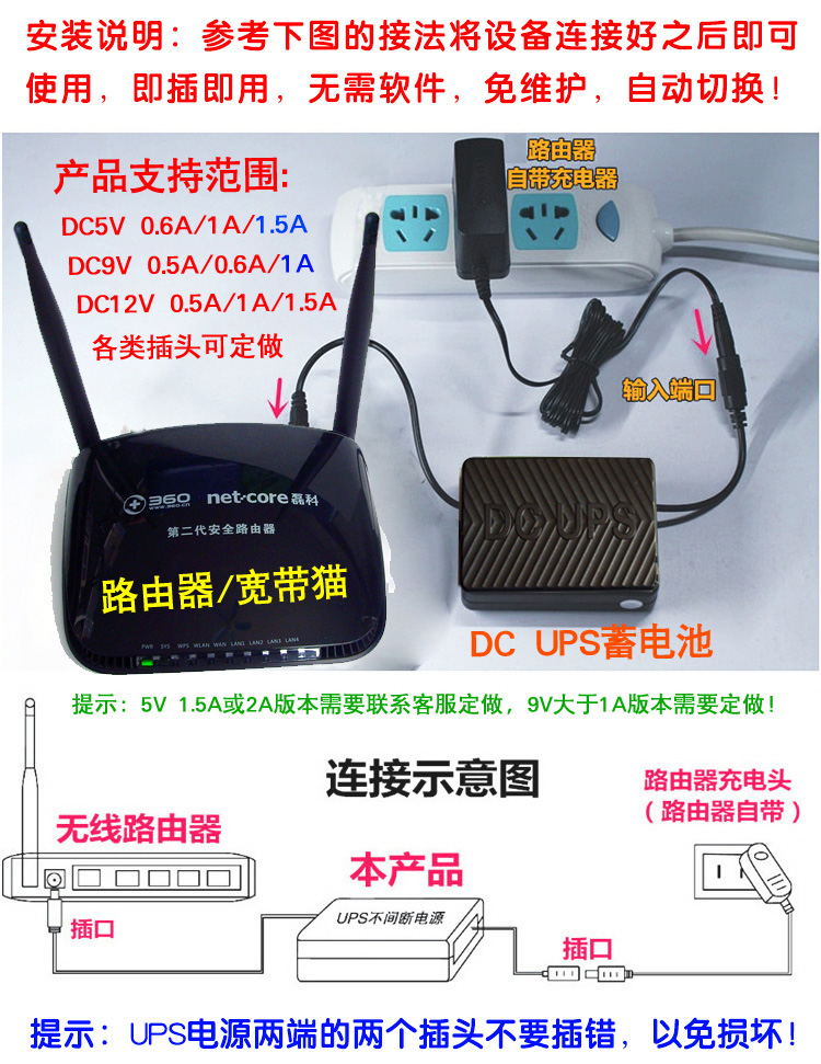 Router battery UPS uninterruptible power supply DC5V 9V 12V dormitory power  off internet light cat switch