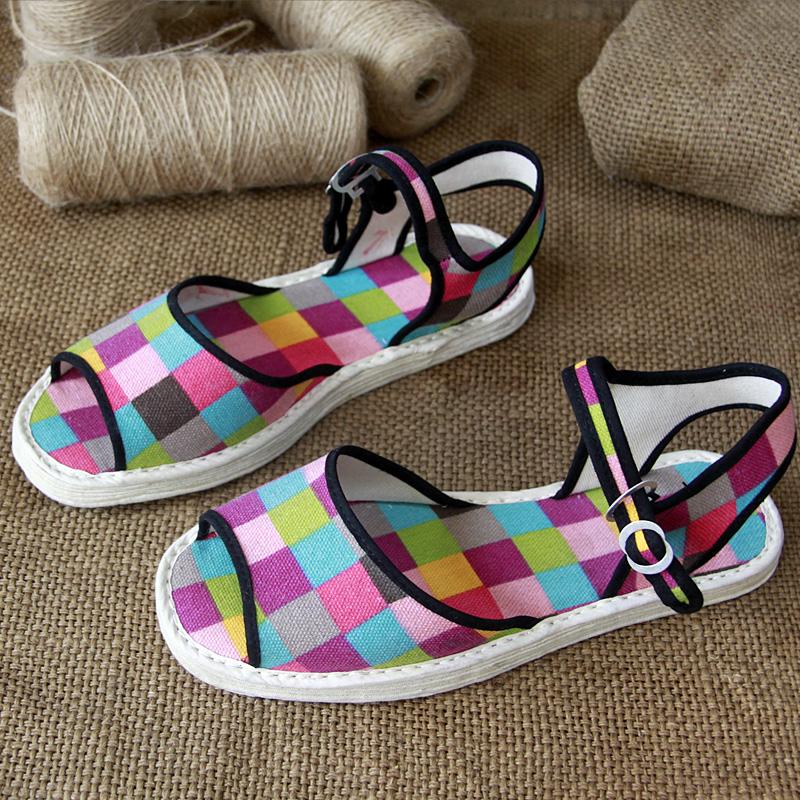 凉鞋一字款老北京千层底女生平跟春夏扣带学生鞋旅游休闲布底布鞋