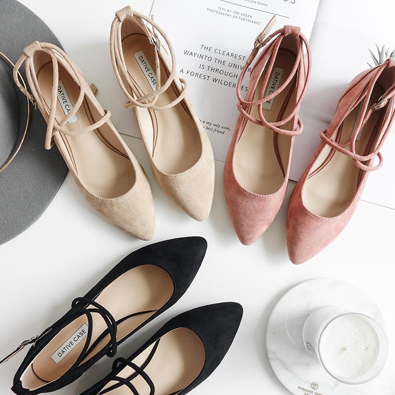 Против сетка обувь женская весна 2018 новый простой корейский дикий на низком кабгалстук-бабочкае обувь женщина наконечник квартира обувной бандаж обувной женщина
