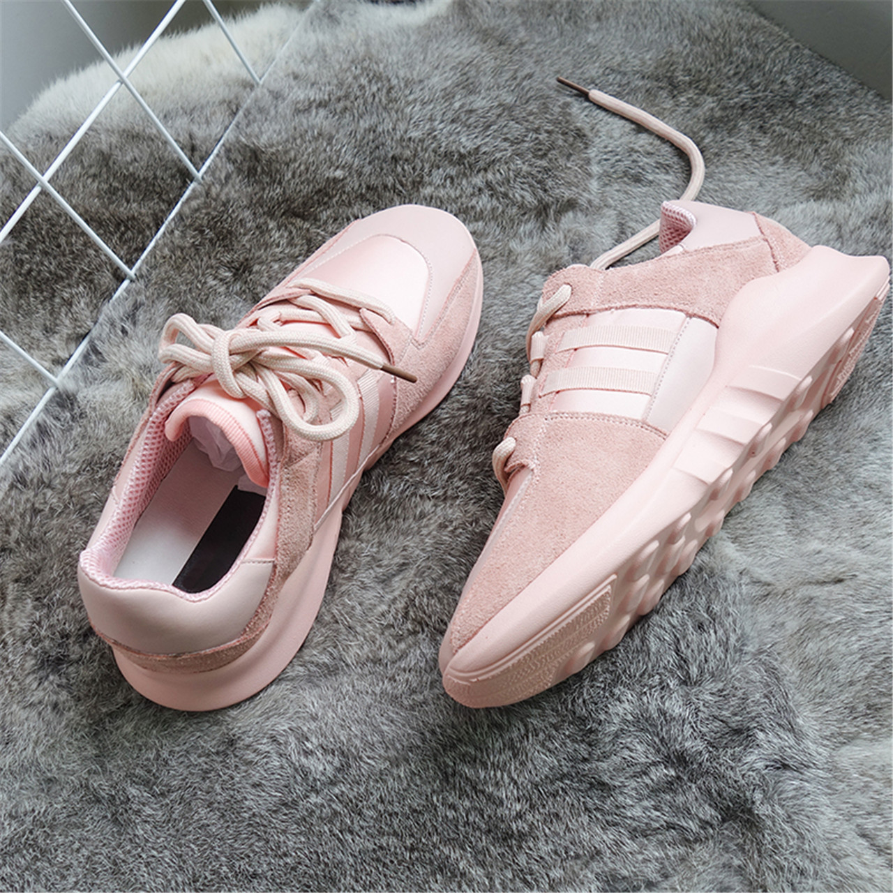 24584083d537 D leather shoes female autumn Korean ulzzang running shoes Harajuku pink  student casual shoes