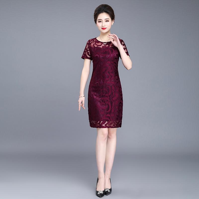 妈妈春装气质连衣裙中老年女2019新款时尚岳母结婚宴装喜婆婆礼服