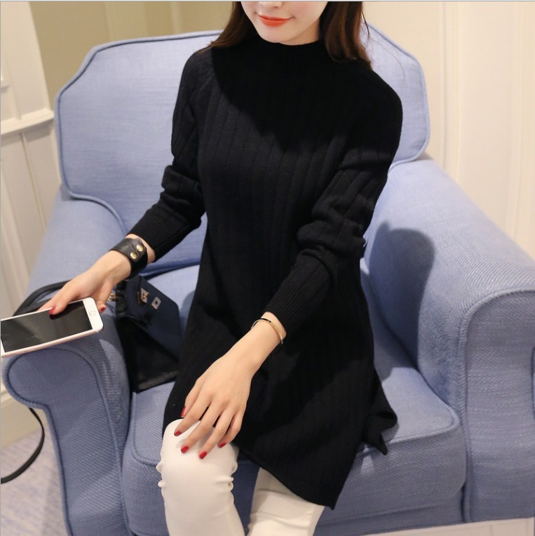 2017 autumn new Korean women's sweater jacket in the long section of half-high collar loose loose pullover skirt
