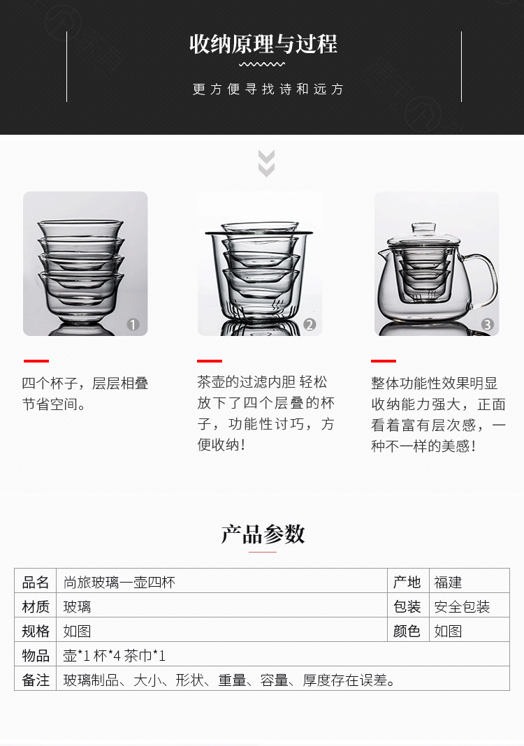 飘逸杯一壶四杯玻璃茶杯轻巧便携收纳包过滤内胆过滤红茶泡茶壶商品详情图