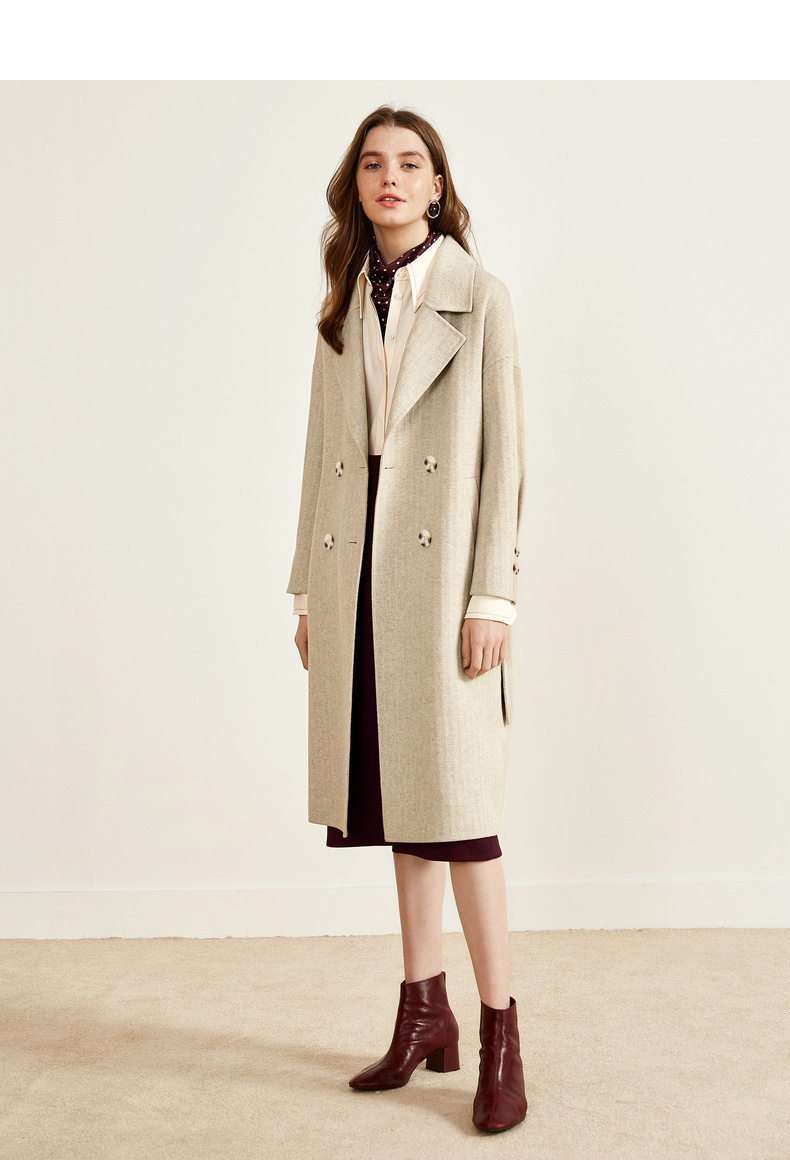 伊芙丽2018冬装新款优雅大方翻驳领 同色系双排扣外套羊毛兔毛大衣