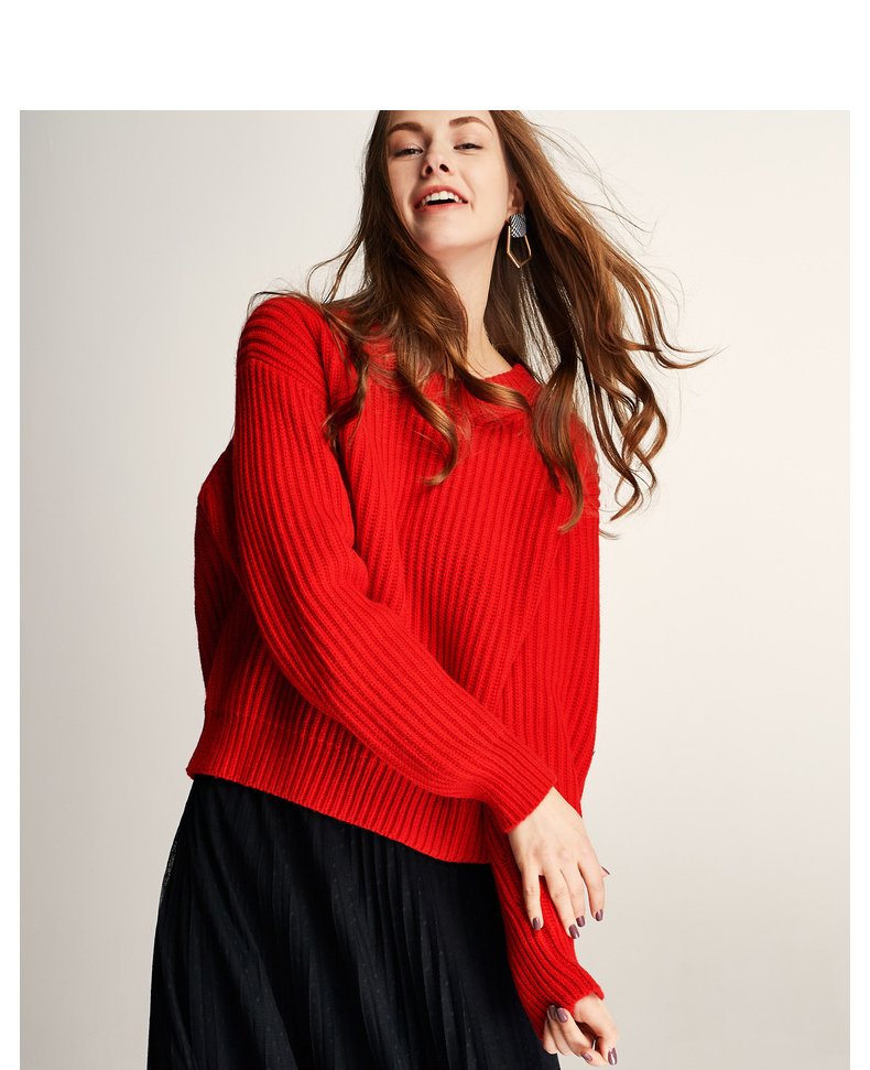 伊芙丽毛衣女2019新款春红色宽松长袖打底衫bf慵懒风长袖针织衫女 宽松落肩 窄坑条针织肌理 5