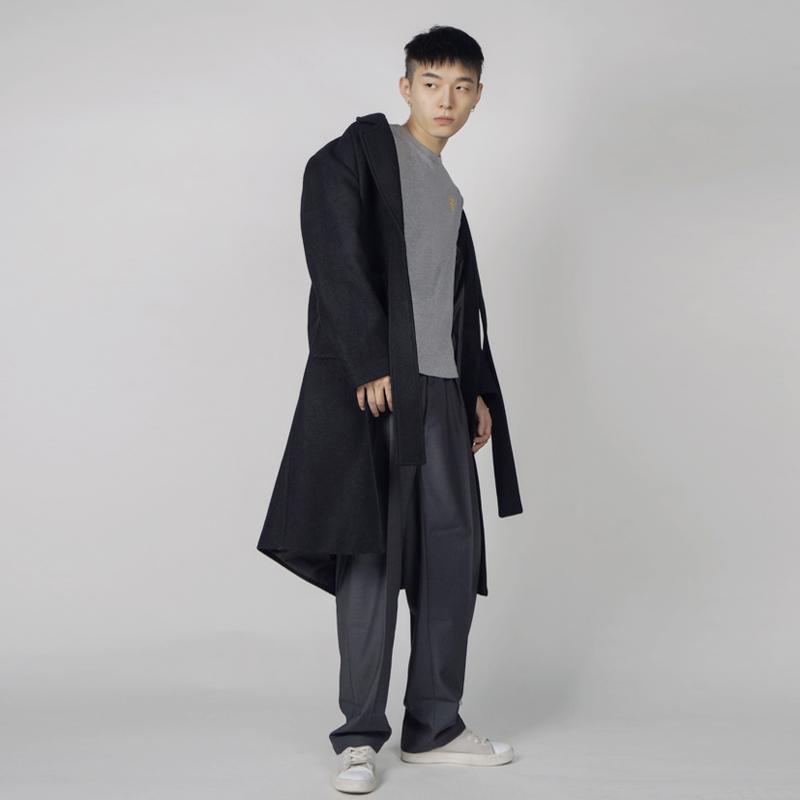 原创设计师黑色羊毛呢大衣男长款oversize宽松休闲翻领欧美简约