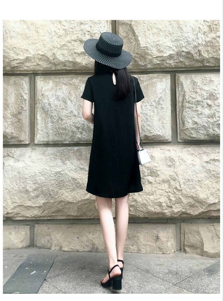 娃娃领遮肚子雪纺连衣裙女夏2019新款中长款洋气小香风直筒小黑裙