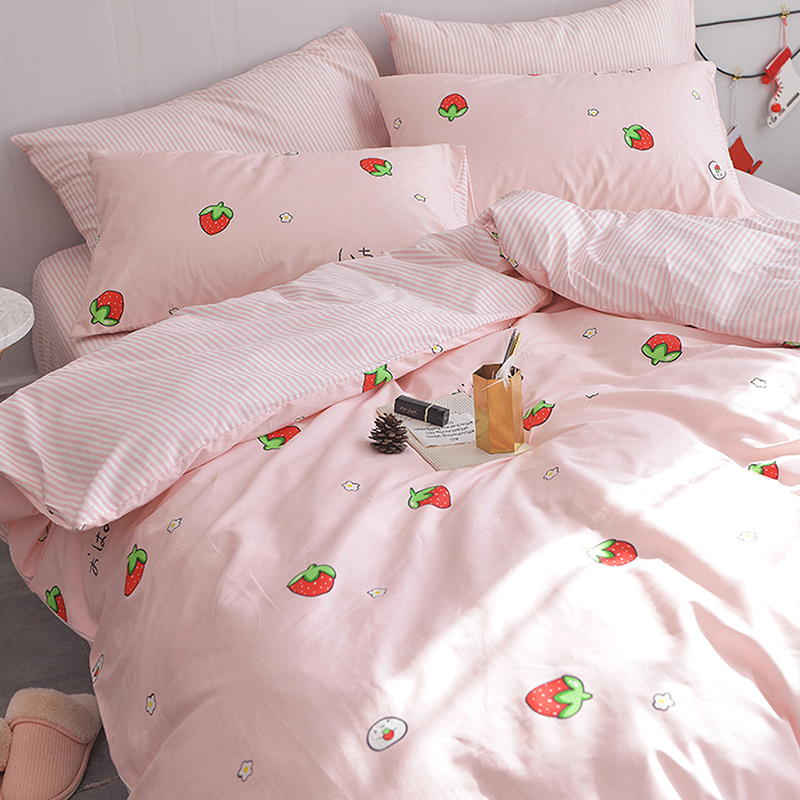 Lovely Ins Princess Wind Bed Four Sets Of Cotton Cotton 1.8 Net Red Quilt Cover  Sheets People Dormitory 4 Three Sets 3