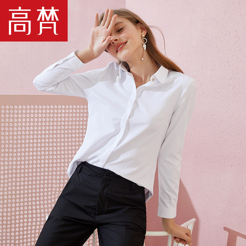 Gao fan 2019 spring new women'S OL professional cotton long-sleeved white shirt blouse slim shirt