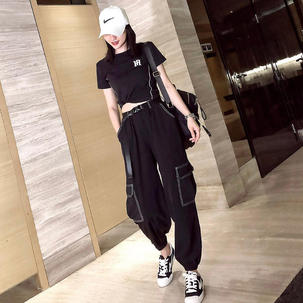 套装时尚女夏季薄款工装裤束脚9分裤哈伦裤宽松显瘦速干裤潮套装