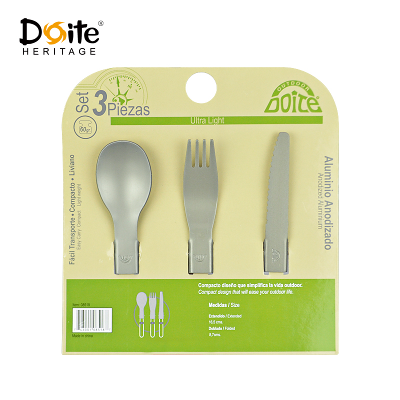 DOITE outdoor aluminum tablespoons foldable camping cutlery knife and fork spoon combination set three sets