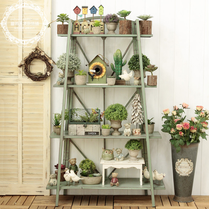 American Village Retro Old Iron Four Tier Decorative Rack Shop Display Decorative Shelves Large Flower