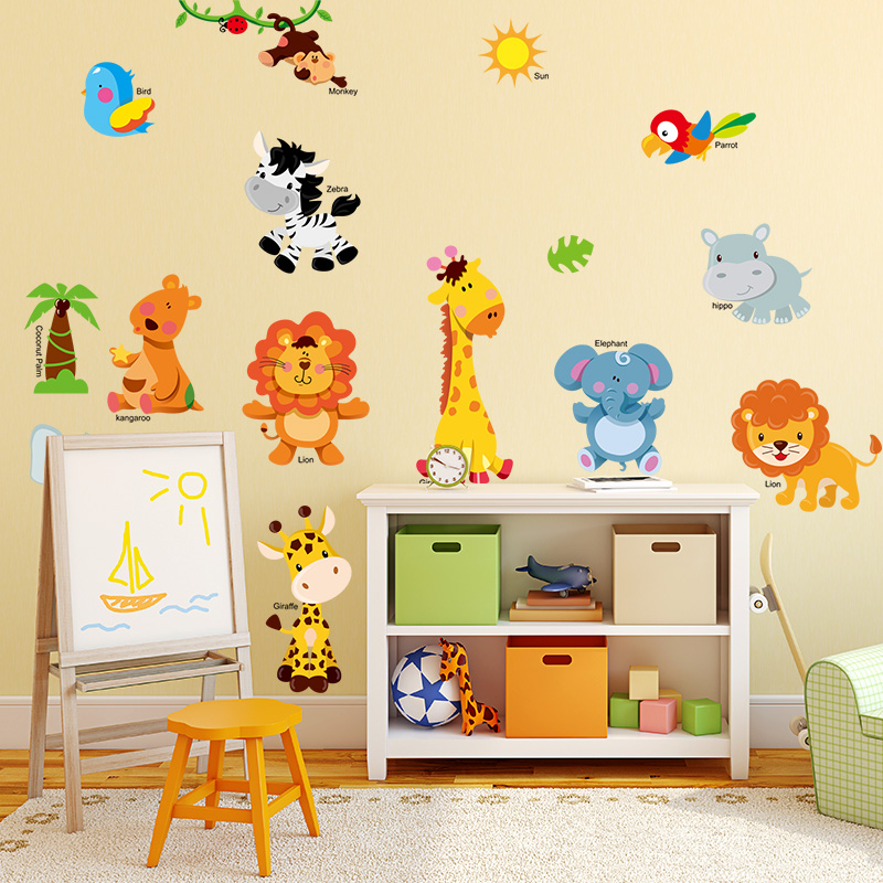 Children S Room Cartoon Animal Wall Painting Stickers Boy Baby Bedroom Wall Decoration Wallpaper Wall Stickers Self Adhesive Wallpaper